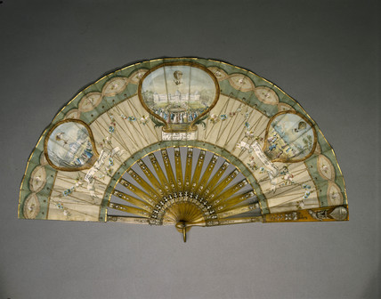 Ballooning scenes on a fan, late 18th century.