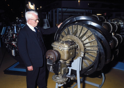 Sir Frank Whittle, English engineer, c 1988.