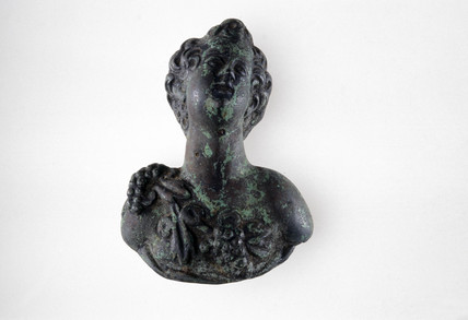 Bronze bust of Bacchus, Roman, 2nd century.