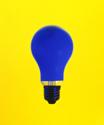 Blue lightbulb on yellow background.
