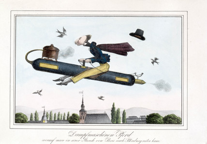 Satire on steam-powered flight, Germany, 1829-1845.