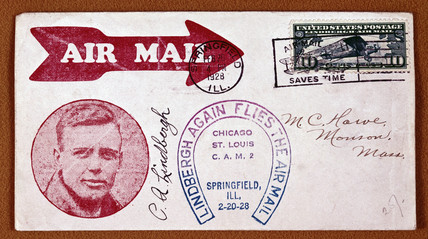 Airmail envelope with a picture of American pilot Charles Lindbergh, 1928.