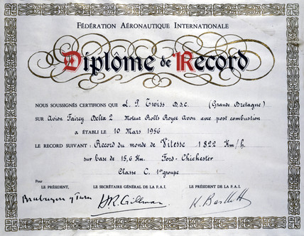 Certificate to mark the world air speed record, 1956.