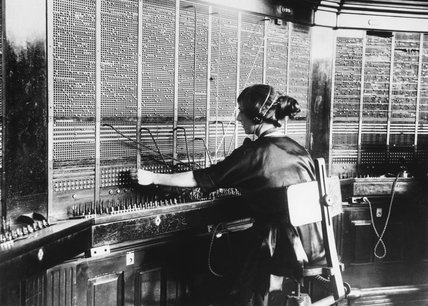 Operating the Victoria Telephone Exchange, 1921.