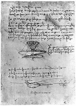 Da Vinci helicopter and tank, late 15th century.