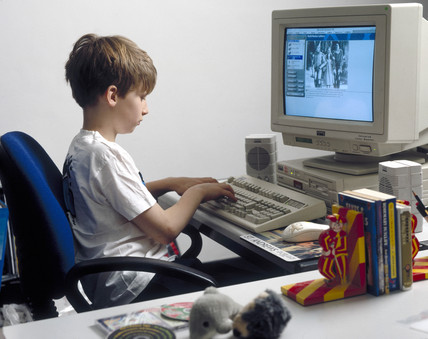 Child using a computer, 1997.