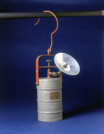 Carbic Number 5' Calcium Carbide handlamp, English, c 1940.