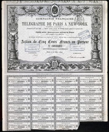 Paris-New York Telegraph Share Certificate, 27 March 1879.