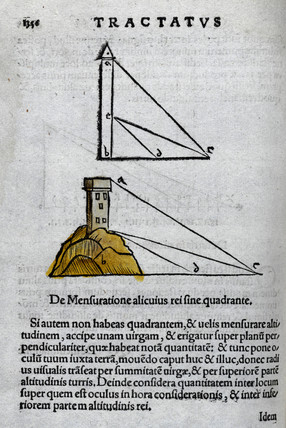 'Tractatus', the use of a quadrant to measure the height of a building, 1535.