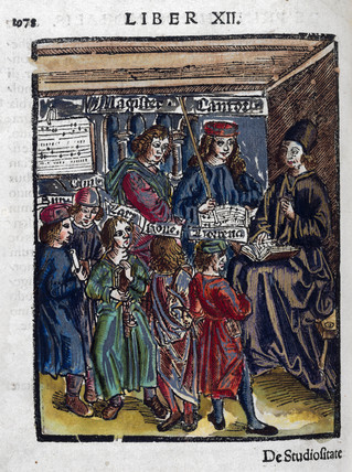 Magister Canto, music teacher with pupils, 1535.