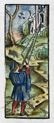 A man using a cros-staff to measure angles, 1535.