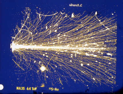 Sulphur ion striking a nucleus in a gold target, CERN, 1990s.