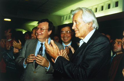 Three Nobel Prize winners at CERN, c1992.