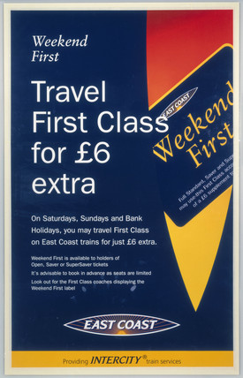 'Travel First Clas for £6 Extra'., c 1980s.