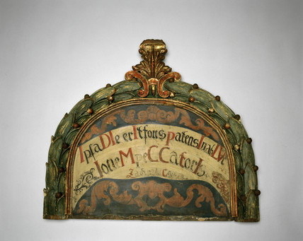 Painted head board from a hospital bed, Austrian, c 17th-18th century.