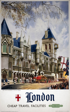 'London - Lord Mayor's Procesion at the Law Courts', BR poster, 1951.