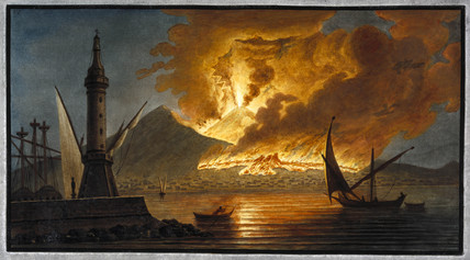 Mount Vesuvius erupting as seen from the Mole of Naples, Kingdom of Naples, 20 October 1767.