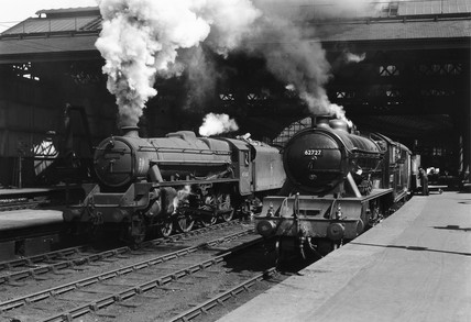 Class 5 4-6-0 steam locomotive, on the turntable at Huddersfield Motive Power Depot.