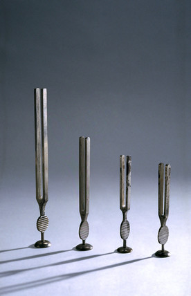 Four tuning forks, c 1841-1930.