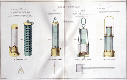 Safety lamps, early 19th century.