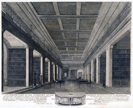 The library of the London Institution, Moorfields, 1819.