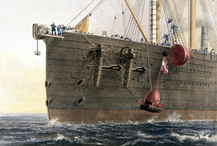 Launching a buoy from the 'Great Eastern', 1866.