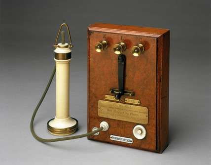 Early Bell telephone and terminal panel, 1877.