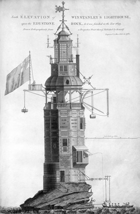The original Eddystone lighthouse, 1699.