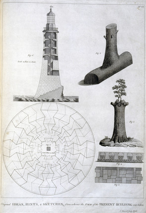 Preliminary sketches of Smeaton's Eddystone lighthouse, c 1756.