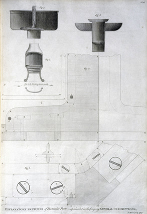 Diagrams showing lamps and ironwork for Eddystone lighthouse, c 1756.