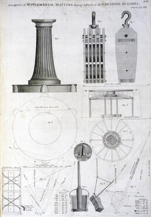 Apparatus and tools at Smeaton's Eddystone lighthouse, c 1756.