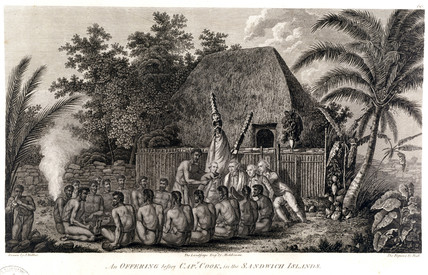 'An Offering before Captain Cook, in the Sandwich Islands', c 1778.