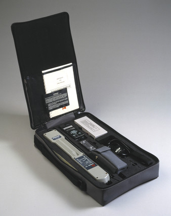 Exfinder 150 portable explosives detector in carrying case, 1986.