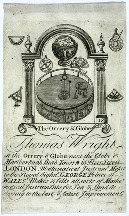 Thomas Wright's trade card, instrument maker, early 18th century.