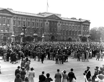 VE Day Celebrations, 8 May 1945. Crowds out