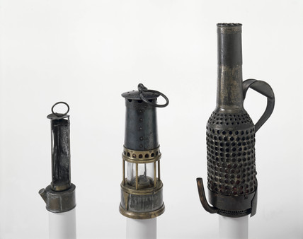 Three miners' lamps, 19th century.