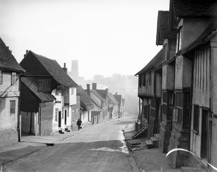 View of houses at Kersey in Suffolk, 29 January 1934.