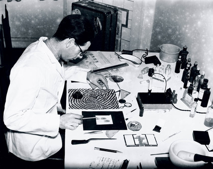 Fingerprint expert analyses a fingerprint for forensic evidence, 28 January 1938.
