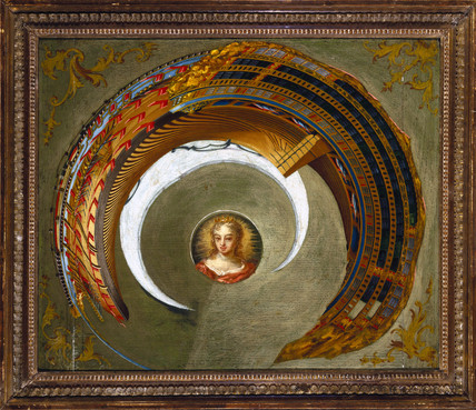 Anamorphic painting of a ship, c 1744-1774.