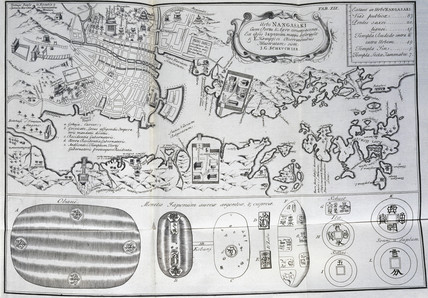 Map of Nagasaki, Japan, c 1690.