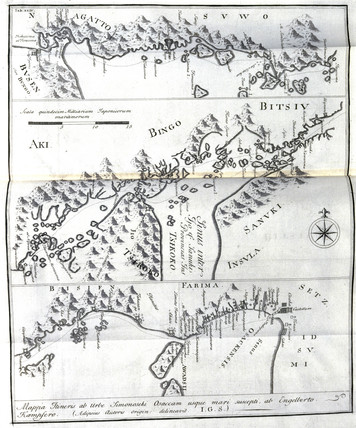 Kokura Japan Map.Map Of Honshu From Kokura To Osaka Japan C 1690 By Scheuchzer