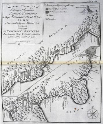 Map Of The Road Between Hamamatsu And Edo Tokyo Japan C 1690 By