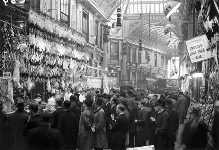 Leadenhall Market during the Christmas period, 19 December 1932.