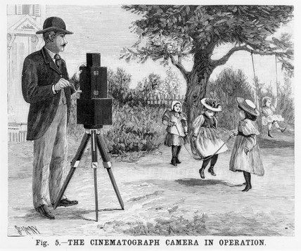Lumiere cinematographe in operation, c 1897.