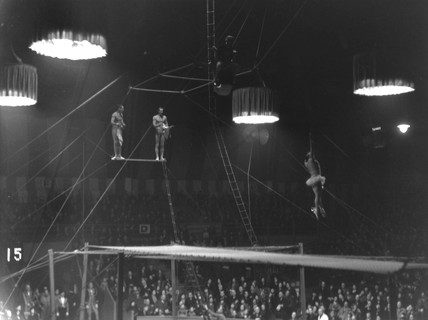 Circus tightrope walkers in action, c 1930s
