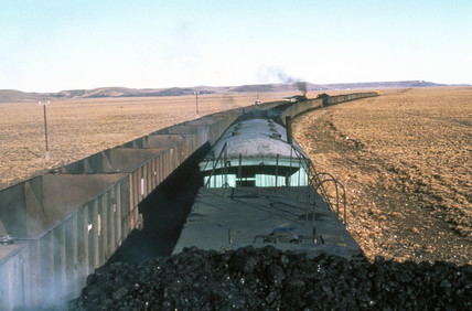 The view from the top of a coal train headi