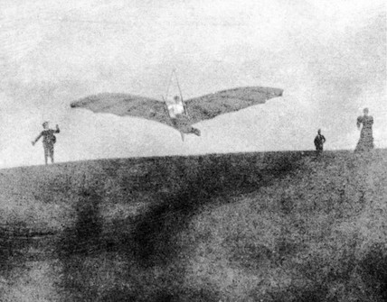 Percy Pilcher, English designer and glider aeronaut, flying the BAT, 1890s.