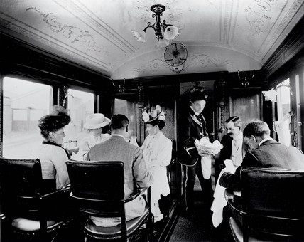 LNWR dining car on an American boat train, 1908.