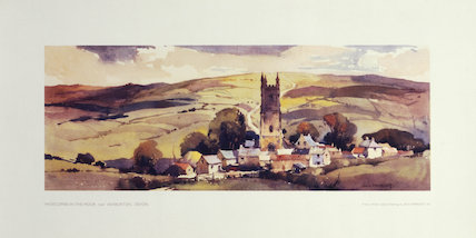 Widecombe in the Moor, Ashburton, BR carriage print, c 1930s.