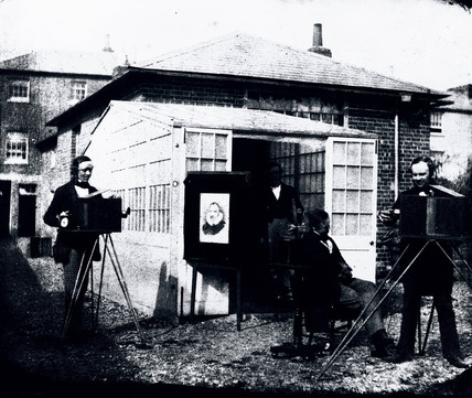 Fox Talbot at the Reading photographic establishment, c 1845.